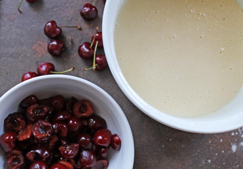 Préparation clafoutis cerises sans  gluten
