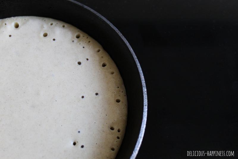 Pancakes véganes et sans gluten cuisson